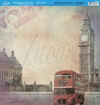 Papel Scrapbook Litoarte 30,5x30,5 SD-064 Ônibus London Bege -