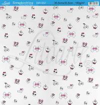 Papel Scrapbook Litoarte 30,5x30,5 SD-069 Caveira e Xadrez Pink -