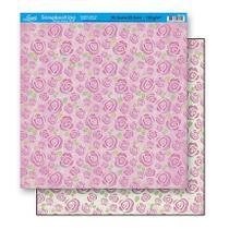 Papel Scrapbook Litoarte 30,5x30,5 SD-104 Estampa Rosas -