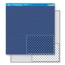 Papel Scrapbook Litoarte 30,5x30,5 SD-188 Poá Azul Escuro -