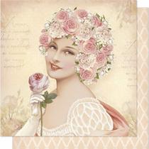 Papel Scrapbook Litoarte 30,5x30,5 SD-199N Mulher e Rosas -