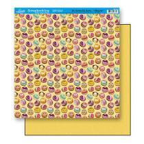 Papel Scrapbook Litoarte 30,5x30,5 SD-203 Doces Amarelo -