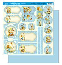 Papel Scrapbook Litoarte 30,5x30,5 SD-209 Tags Menino Azul -