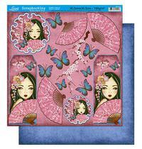 Papel Scrapbook Litoarte 30,5x30,5 SD-215 Japonesa e Borboletas -