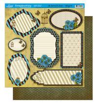 Papel Scrapbook Litoarte 30,5x30,5 SD-221 Tags Flores Azul -