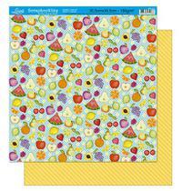 Papel Scrapbook Litoarte 30,5x30,5 SD-227 Frutas e Listras Amarelas -