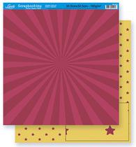 Papel Scrapbook Litoarte 30,5x30,5 SD-264 Abstrato e Estrela Amarelo e Vinho -