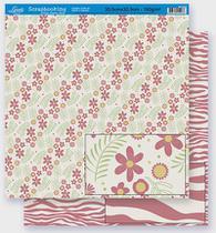 Papel Scrapbook Litoarte 30,5x30,5 SD-272 Flores e Ramos Rosa -