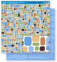 Papel Scrapbook Litoarte 30,5x30,5 SD-283 Abstrato Azul -