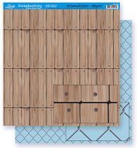 Papel Scrapbook Litoarte 30,5x30,5 SD-288 Madeira e Grade Azul -