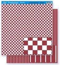 Papel Scrapbook Litoarte 30,5x30,5 SD-299 Quadrado e Listras Vermelho e Branco -