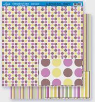 Papel Scrapbook Litoarte 30,5x30,5 SD-305 Poá e Listras Coloridas -