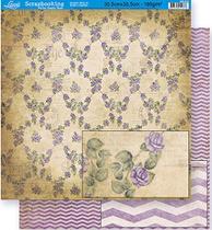 Papel Scrapbook Litoarte 30,5x30,5 SD-314 Rosas e Chevron Roxo -
