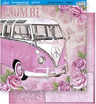 Papel Scrapbook Litoarte 30,5x30,5 SD-330 Kombi e Rosas Rosa -