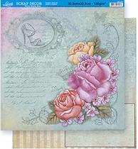 Papel Scrapbook Litoarte 30,5x30,5 SD-347 Rosas Cantoneiras Azul -