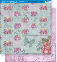 Papel Scrapbook Litoarte 30,5x30,5 SD-348 Rosas e Escrita Rosa -