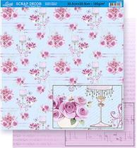 Papel Scrapbook Litoarte 30,5x30,5 SD-354 Rosas e Musical Rosa -