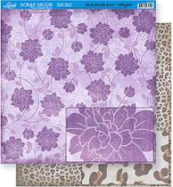 Papel Scrapbook Litoarte 30,5x30,5 SD-356 Flores Roxa e Onça -