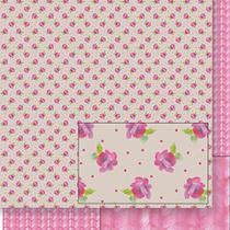Papel Scrapbook Litoarte 30,5x30,5 SD-411 Flores e Tricô Rosa -
