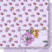 Papel Scrapbook Litoarte 30,5x30,5 SD-440 Lírios e Arabescos Lilás -