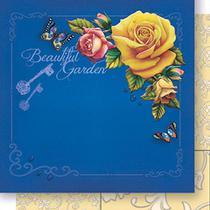 Papel Scrapbook Litoarte 30,5x30,5 SD-445 Cantoneira Rosas Amarelo e Azul -