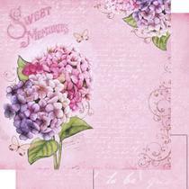 Papel Scrapbook Litoarte 30,5x30,5 SD-480 Hortênsias e Escritas Rosa -