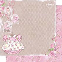 Papel Scrapbook Litoarte 30,5x30,5 SD-490 Roupa Baby Menina Rosas -