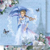 Papel Scrapbook Litoarte 30,5x30,5 SD-514 Mulher com Guarda-Chuva Azul -
