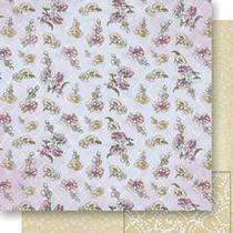 Papel Scrapbook Litoarte 30,5x30,5 SD-535 Flores e Abstrato Bege -