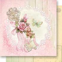 Papel Scrapbook Litoarte 30,5x30,5 SD-536 Chave, Laço e Rosas -
