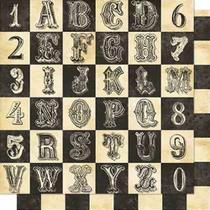 Papel Scrapbook Litoarte 30,5x30,5 SD-665 Alfabeto e Numeral -