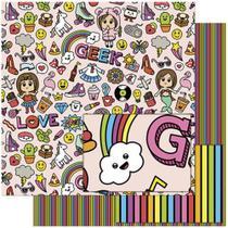 Papel Scrapbook Litoarte 30,5x30,5 SD-769 Elementos Teen Feminino -