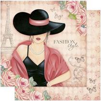 Papel Scrapbook Litoarte 30,5x30,5 SD-770 Dama e Rosas -