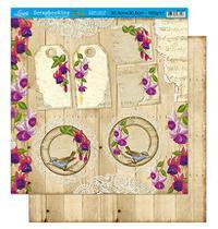 Papel Scrapbook Litoarte 30,5x30,5 SD1-011 Tag e Flor -
