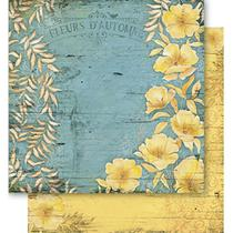 Papel Scrapbook Litoarte 30,5x30,5 SD1-049 Flores Amarelas -