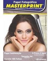 Papel sublimação 100g a4 com 100 folhas masterprint -