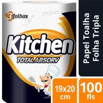 Papel Toalha Folha Tripla Kitchen Total Absorv 100 Folhas -