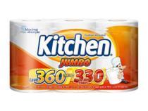 Papel toalha kitchen jumbo leve 360 pague 330 folhas softys -