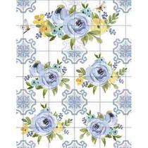 Papel Transfer Litoarte 21,8x28,4cm PTG-065 Flores Azuis -