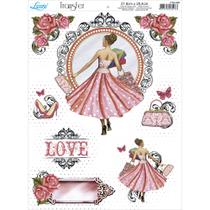Papel Transfer para Decoupage Litoarte 21,8 x 28,4 cm - Modelo PTG- 006  Menina Love Compras -