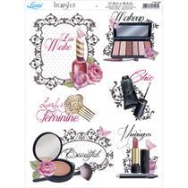 Papel Transfer para Decoupage Litoarte 21,8 x 28,4 cm - Modelo PTG- 009 Love Make up: Maquiagens -