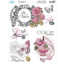 Papel Transfer para Decoupage Litoarte 21,8 x 28,4 cm - Modelo PTG- 010 Charme, Perfume, Borboleta e Flores -