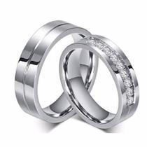 Par Alianças Anel De Compromisso Banhada Ouro Branco Barata - Jewelery