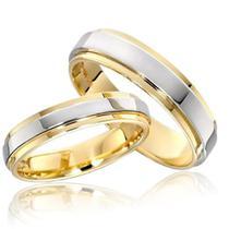 Par Alianças Anel De Compromisso Banhado A Ouro 18k Namoro - Jewelery