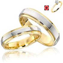 Par Alianças Anel De Compromisso Banhado A Ouro 18k Namoro + SOLITARIO - Jewelery