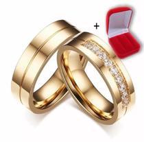 PAR Alianças Banhada Ouro 18k Casamento Tradicional Noivado Anel - Jewelery