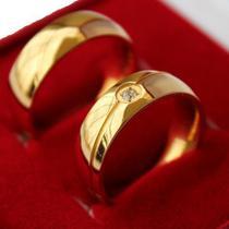Par Alianças Banhadas  A Ouro 18k Brilhante - Judith Joias