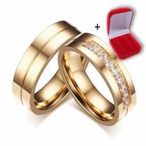 Par Alianças Casamento Noivado e Compromisso 6mm Titânio banhado a ouro 18k - Euro Importados