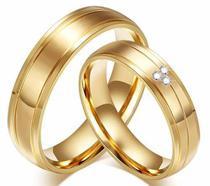 Par Alianças Noivado Casamento Compromisso Banho Ouro 18k - Outlet