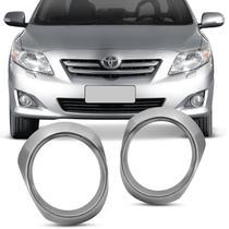 Par Aplique Aro Cromado Farol de Milha Toyota Corolla 2008 a 2011 Fácil Instalação - Flash